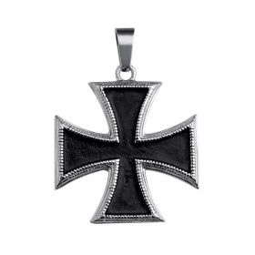 Antique Black Stainless Steel Maltese Cross Pendant for Men Biker Jewelry