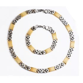 Stainless Steel Gold Silver Male Flat Byzantine Necklace Bracelet for Men Jewelry Set 11mm Chain