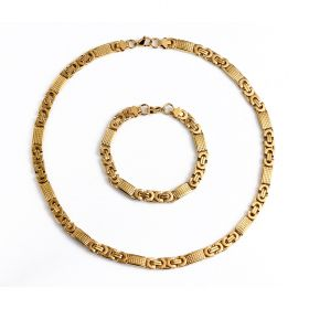 Stainless Steel Link Byzantine Chain Necklace Bracelet Gold 8mm for Men's Jewelry Set