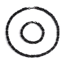 Classic Men's Stainless Steel Byzantine Box Chain Set Necklace with Bracelet Black