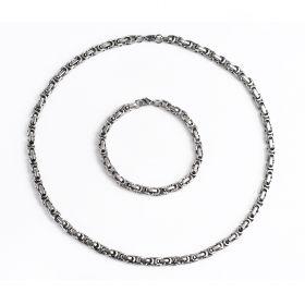 Popular 304 Stainless Steel Byzantine Box Chain Necklace & Bracelet Jewelry Set 6mm