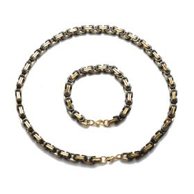 Men's Stainless Steel Byzantine Chain Necklace Bracelet Sets Cool Punk Gothic Jewelry Gold Black Tone