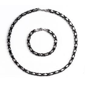 Stainless Steel Men's Necklace & Bracelet Set Byzantine Box Chain Black
