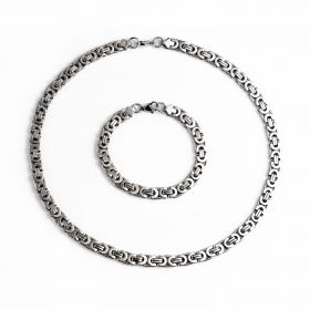 Link Box Byzantine Stainless Steel Thick Necklace Bracelet Set for Men