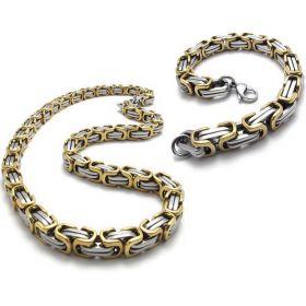 Fashion Men's Stainless Steel Link Box Byzantine Necklace Bracelet Set 9mm