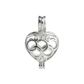 Olympic Heart Cage 925 Sterling Silver Love Wish Pearl Pendant Charm without Chain & Pearl