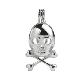 Skull Cage 925 Sterling Silver Love Wish Pearl Pendant