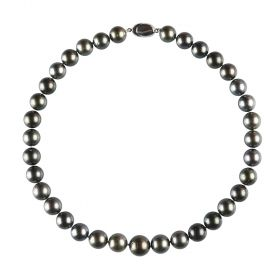 "Round Genuine Black Tahitian Cultured Pearl Necklace 17"" Princess Length for Women"