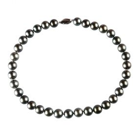 AA Grade Round Black Tahitian Pearl Bead Strand Necklace 17 inch