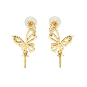 18K Gold Diamond Irregular Butterfly Stud Pearl Earrings Findings with Peg TEK876B