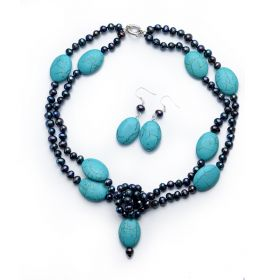 Double Strands Potato Black Pearls Blue Turquoise Necklace Earrings Set