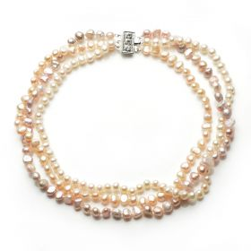 Women's Classic Elegant Pearl Multi-strand Necklace with 6-8mm various Pearls