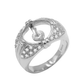 Popular 1 Piece 925 Silver Adjustable Pearl Ring Mounting/Fitting/Accessories without pearl