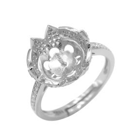 Fine Adjustable 925 Sterling Silver DIY Pearl Ring Mounting/Accessories/Fitting Flower Shape