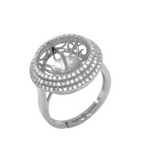 925 Silver Halo Style Ring Setting with CZ Surrounded,  Suitable Pearl Size 13-14mm