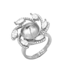 Romantic ring setting 925 Silver with cubic zirconia surrounded adjustable size