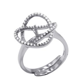 925 Silver Ring Setting in curve design with cubic zirconia adjustable size