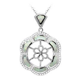Flower Design 925 Sterling Silver Pendant Settings with Rhinestone