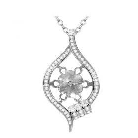 Shiny Unique-shaped 925 Sterling Silver Pendant Fitting with DIY Seat for Jewelry Making