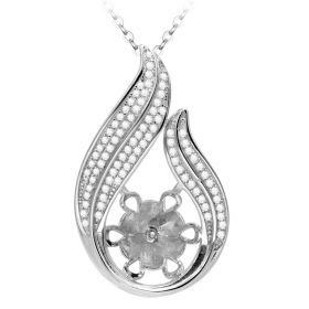 Luxury Simple Style with Clear Cubic Zircons 925 Sterling Silver Pearl Pendant Setting Accessories
