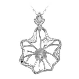 Girls Bloom Flower Cage Pendant for Jewelry Making and Crafting 925 Sterling Silver