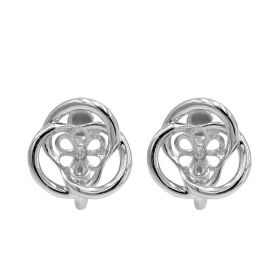 1 pair 925 Sterling Silver Flower Ear Wire Earring Pearl Connector/Findings