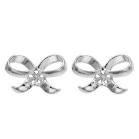 Simple Bowknot Shape Earrings Section Mountings Silver Accessories