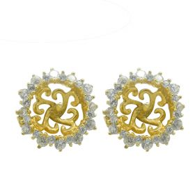 925 Silver Flower Shaped Earring Setting/Mounting/ with Rhinestone for Women Jewelry