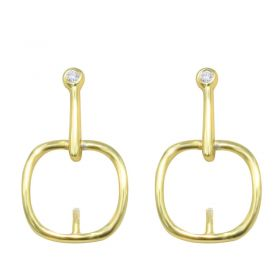 New Fashion S925 Silver Dangling Earring Studs Settings For Pearl Gemstone Beads