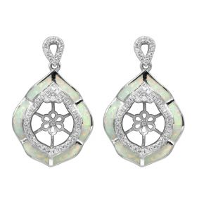 Leaf Style Pearl Noble Drop Earring Studs Mounting 925 Silver with Zircons for Women