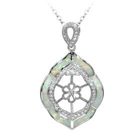 Leaf shaped sliver pendant setting with zircons without pearl & chain for women