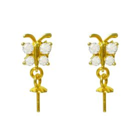 DIY Shiny Butterfly Design 925 Sterling Silver Earrings Fittings/Accessories/Mountings No Pearls