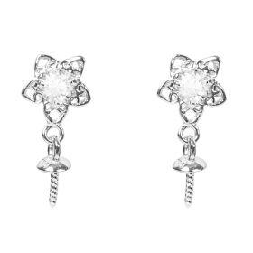 Flower Earrings Mountings 925 Sterling Silver Accessories Pearl Earrings Fittings for DIY (No Pearls)