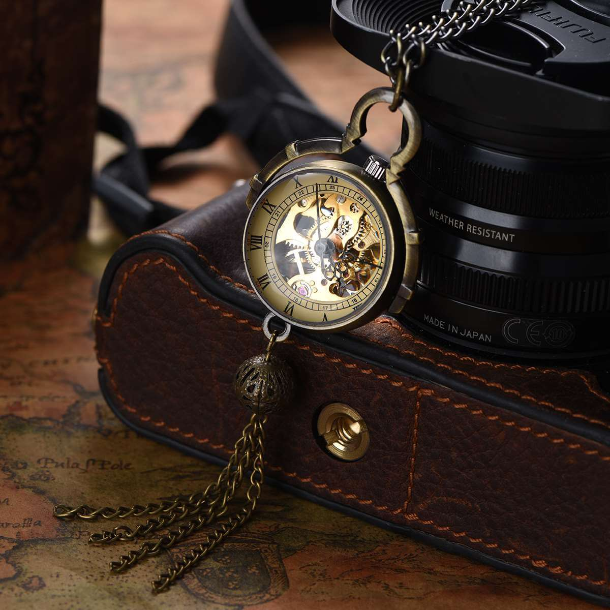 ball mechanical skeleton pocket watch pendant watches