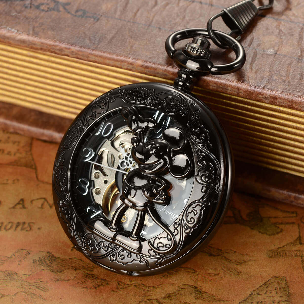 black mickey mouse mechanical pocket watch pendant necklace