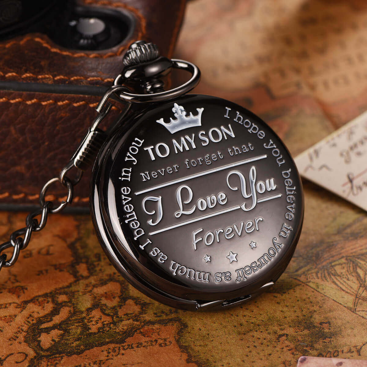 black personalized vintage roman numerals pocket watches