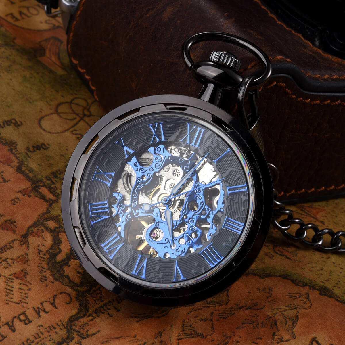 black roman numerals pocket watch