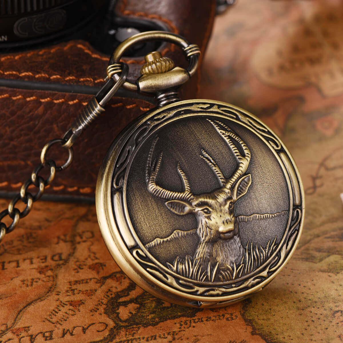 antique bronze quartz pocket watch