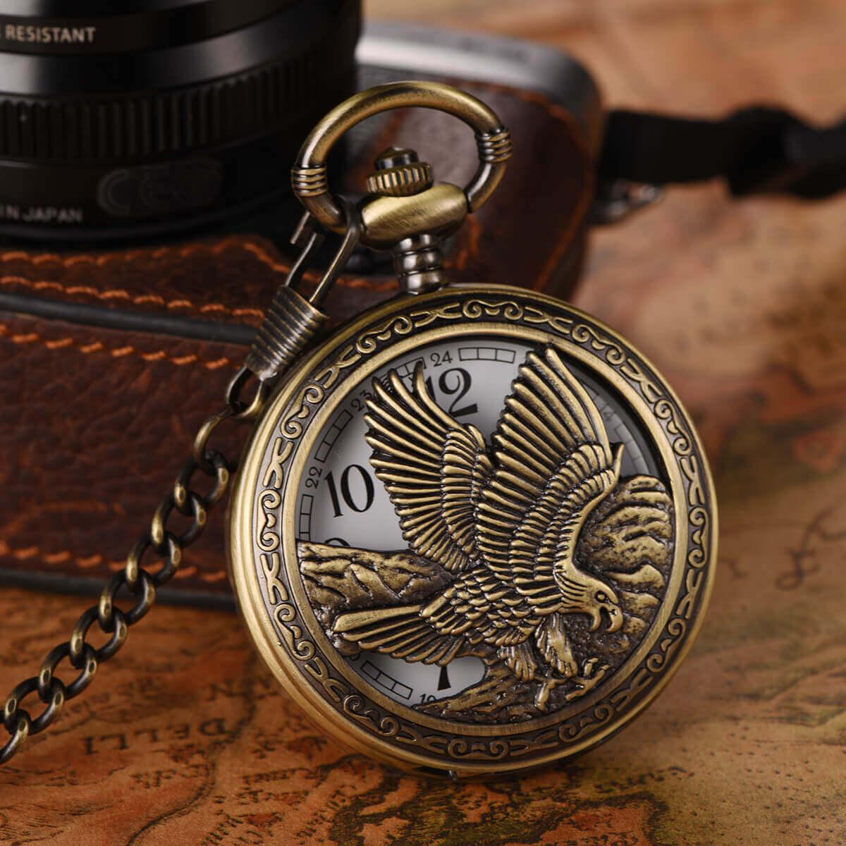 half hunter eagle pocket watch