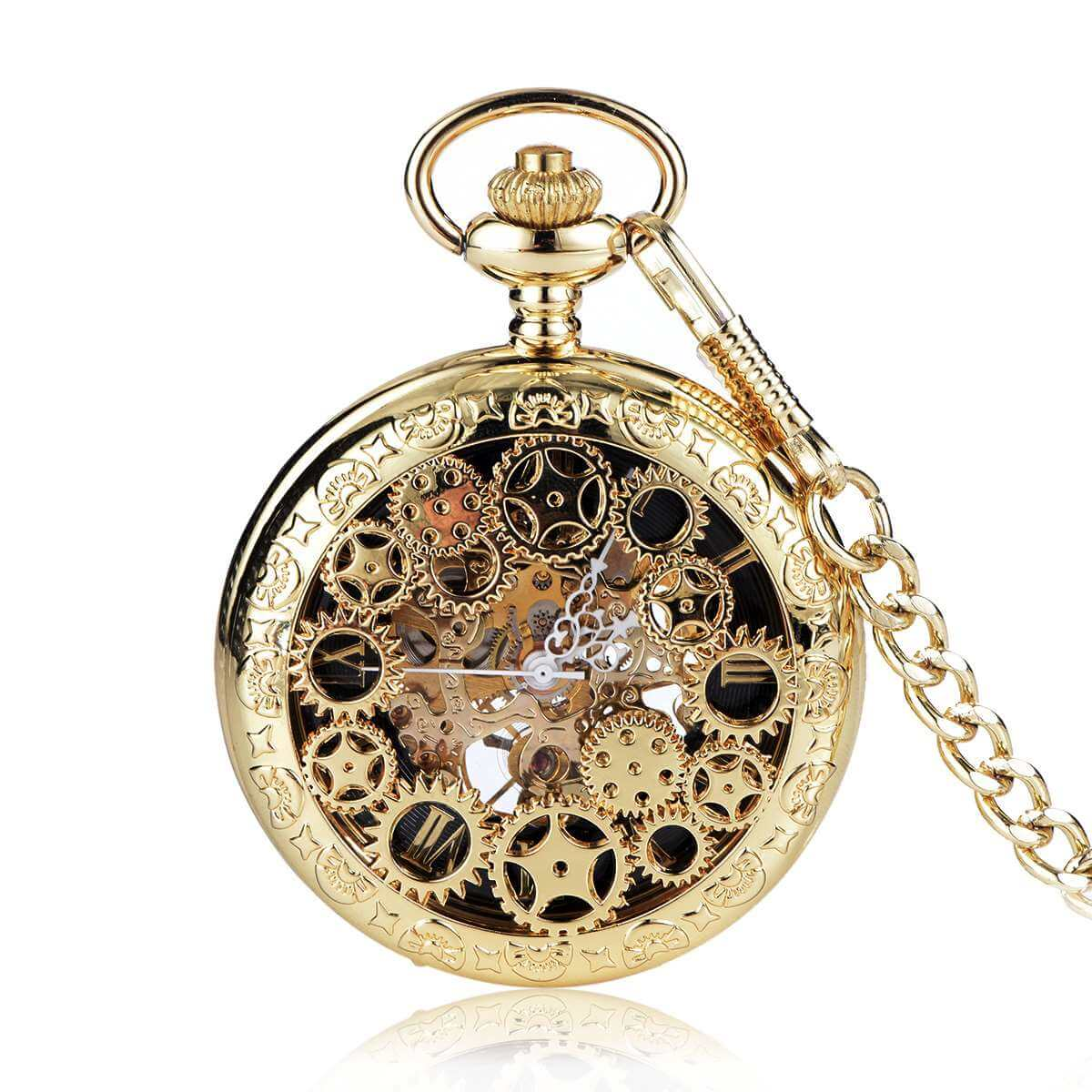 gloden mens skeleton mechanical pocket watch