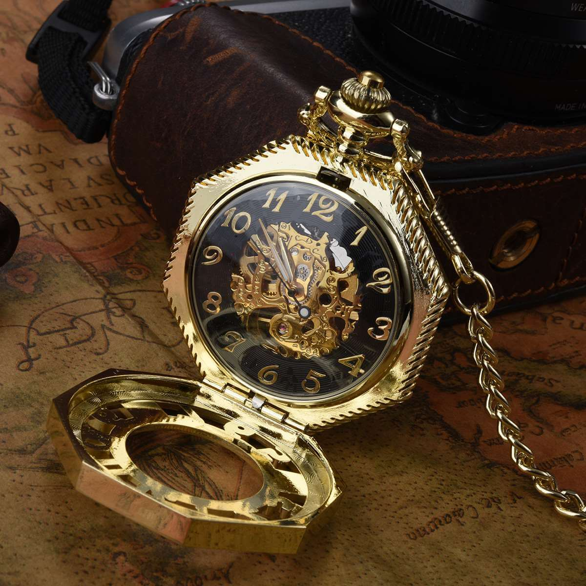 unique octagon mechanical pocket watch