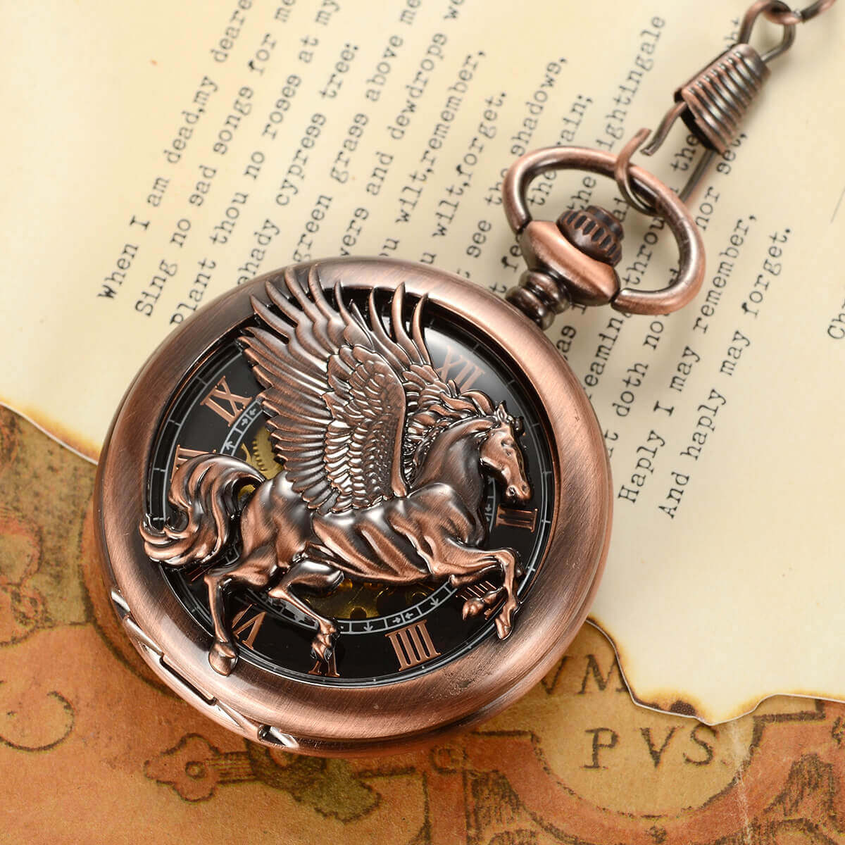skeleton mechanical fly horse pocket watches