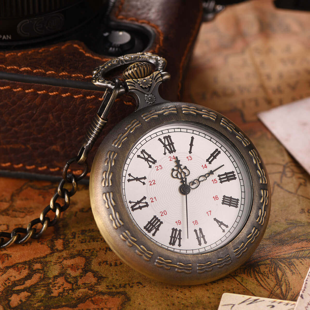 open face quartz pocket watch