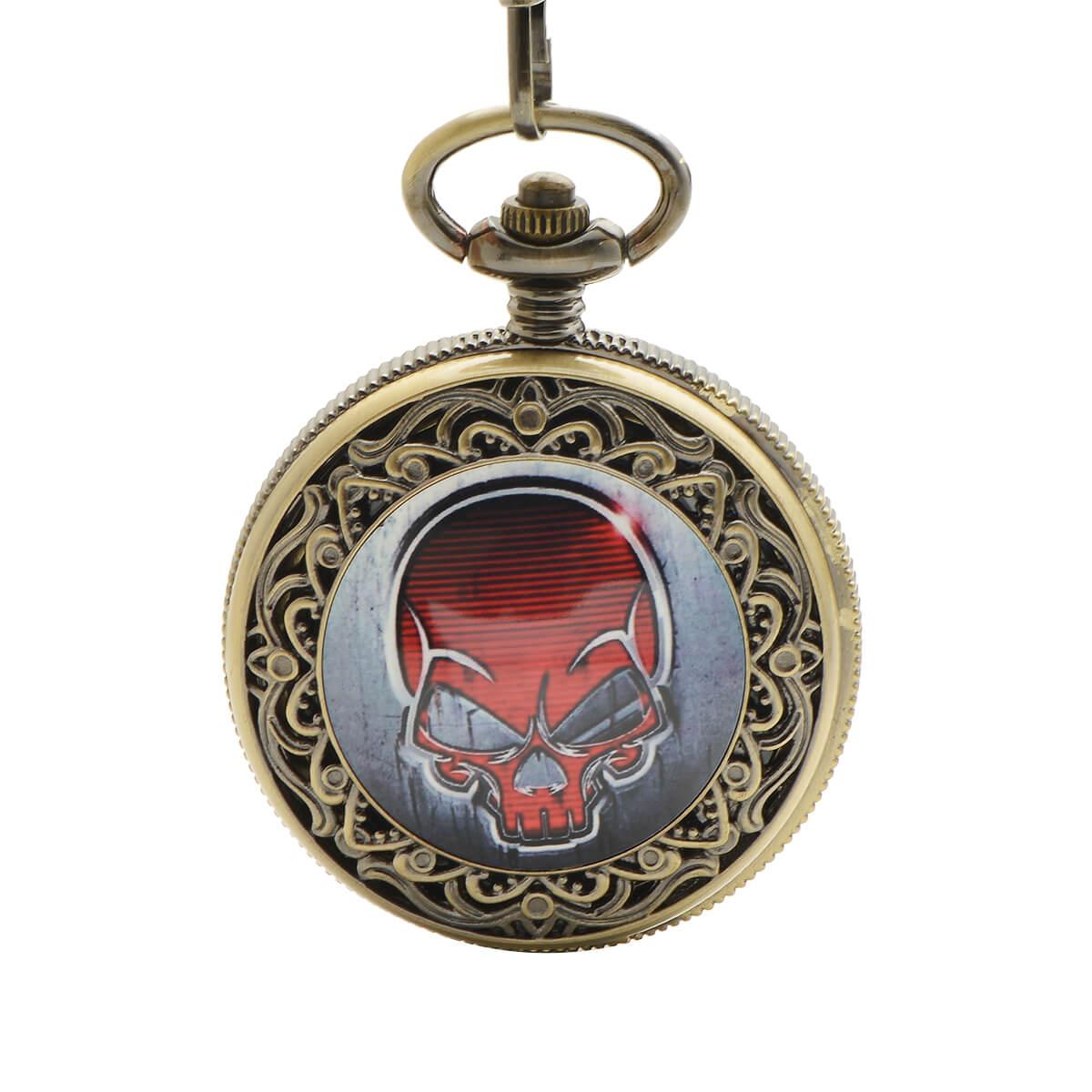 red skull unique pocket watch