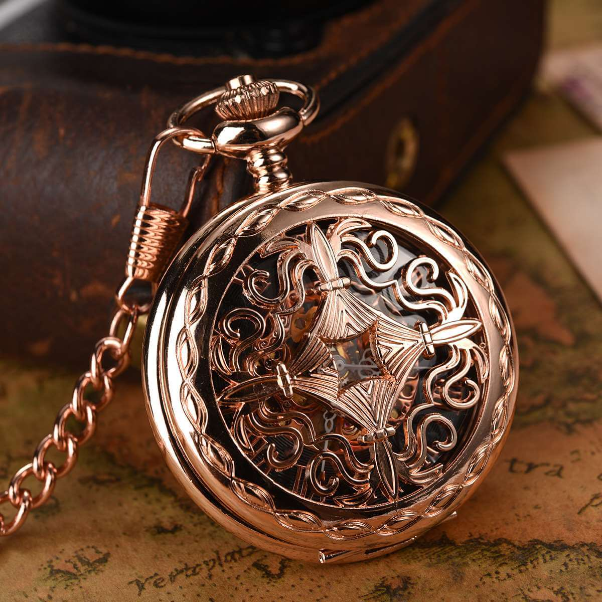 rose gold mechanical pocket watches