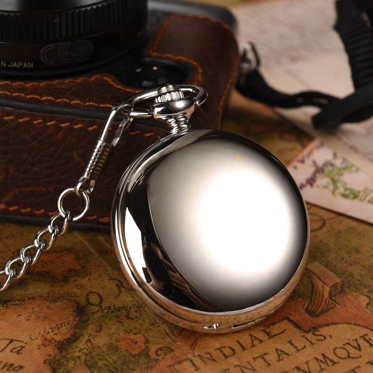 silver smooth engrave pocket watches