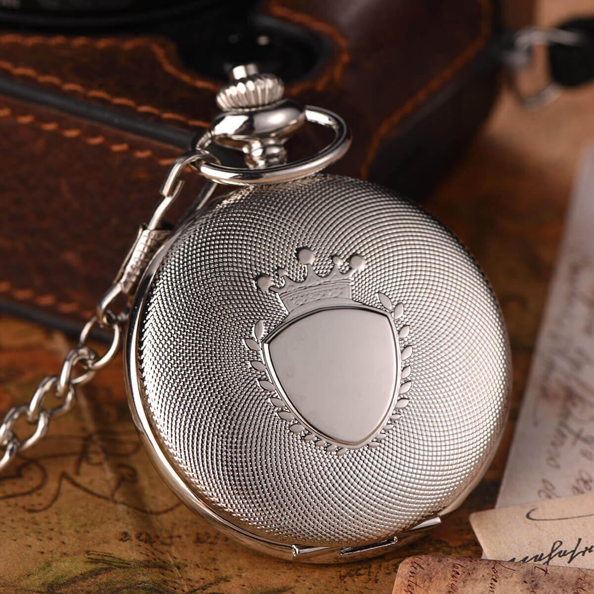silvery quartz pocket watch