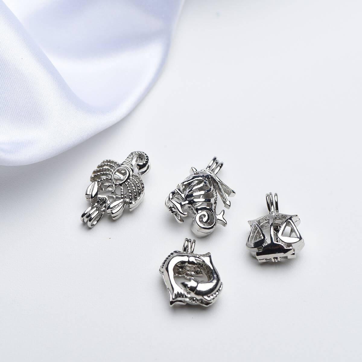 12 zodiac pearl cage pendant