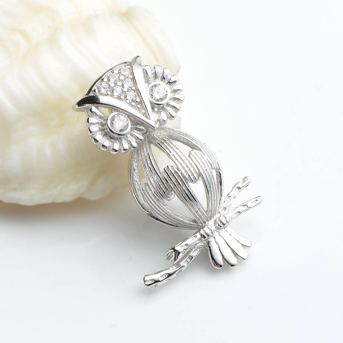 Owl Cage Love Wish Pearl 925 Sterling Silver Pendant Lockets