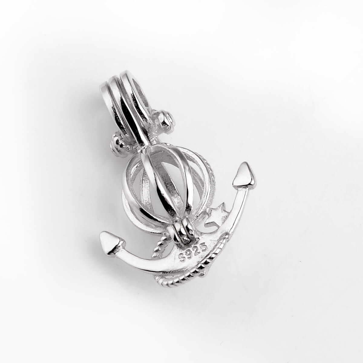 Sterling Silver Anchor Pearl Cage